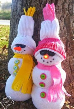 an easy winter craft making tube sock snowmen by the funky felter