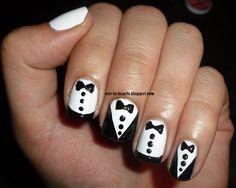 Tuxedo nails?! Based off of Zooey D's mani! #nailart #mani