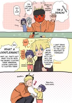 naruhina family Naruto's kids ate something else. And Himawari is so precious!