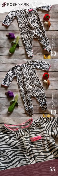Zebra Print Onesie - EUC, no defects - 100% cotton  ** all of my children's items are very lightly used and have been gently laundered and hung or laid flat to dry. ** (exceptions for new & NWT items) Carter's One Pieces Footies