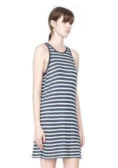 STRIPE LINEN TANK DRESS   Short Dresses   Alexander Wang Official Site