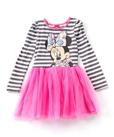 Love this Charcoal & Pink Stripe Minnie Mouse Dress - Girls by Disney Junior on #zulily! #zulilyfinds