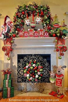 Check Out 23 Whimsical Christmas Decorating Ideas To Try This Year. whimsical Christmas decor, you won't want to live without these bright Christmas decorations. Decoration Christmas, Christmas Mantels, Noel Christmas, Xmas Decorations, All Things Christmas, Christmas Wreaths, Elegant Christmas, Christmas Villages, Victorian Christmas