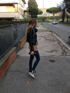 MANGANO Jacket  ROBERTO COLLINA cardigan JBRAND jeans GOLDEN GOOSE shoes PRÜNE pochette