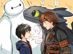 Hiccup and Toothless meets Hiro! I would really love Hiro to be included with Jack, Hiccup, Merida, Rapunzel, Elsa, and Anna! Why not, right? Just a thought.