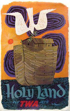 TWA - Holy Land by David Klein   Vintage travel poster