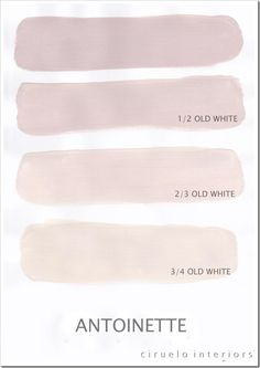 Annie Sloan mixing charts: Antoinette og Old White
