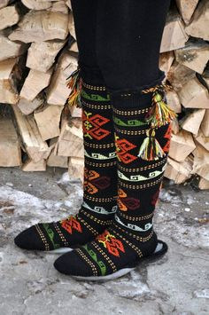 Folk Art Socks — Georgian socks, decorated with inlaid yarn. Fair Isle Knitting, Wool Socks, Bitty Baby, Baby Booties, Georgian, Knitting Projects, Rubber Rain Boots, Folk Art, Knit Crochet