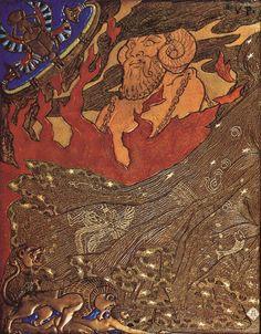 Salammbô de Gustave Flaubert (1862), reliure de Victor Prouvé (avec Camille Martin et René Wiener), 1893, cuir mosaïqué, incisé, pyrogravé, doré, émaux cloisonnés, Musée de l'Ecole de Nancy à Nancy (plat arrière).
