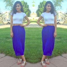 ❄️WINTER SALE‼️Royal blue midi skirt Sheer midi skirt with lining and contrasting waistband Sweet Xylia Skirts Midi