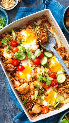 Easy Nasi Goreng recipe made as a tray bake.  Perfect family meal.    Feature content by Australian Eggs Indian Food Recipes, Asian Recipes, Healthy Recipes, Ethnic Recipes, Healthy Meals, Side Dish Recipes, Dinner Recipes, Dessert Recipes, Seasoned Rice Recipes