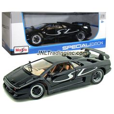 """Maisto Year 2014 Special Edition Series 1:18 Scale Die Cast Car Set - Black Color Sports Coupe LAMBORGHINI DIABLO SV with Display Base (Car Dimension: 9"""" x 4-1/2"""" x 2-1/2"""")"""