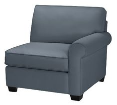Buchanan Roll Arm Upholstered Right Arm Chair, Polyester Wrapped Cushions, Brushed Canvas Harbor Blue