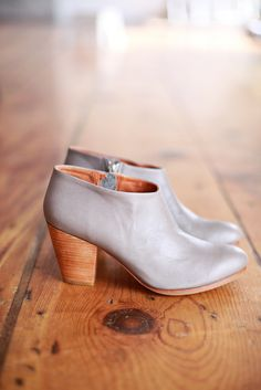 light gray booties.