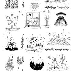 22 Ideas Tattoo Art Drawings Sketchbooks Sketch For 2019 Ufo Tattoo, Doodle Tattoo, Doodle Drawings, Cute Drawings, Doodle Art, Tattoo Drawings, Sketch Tattoo, Tattoo Art, Nature Tattoos