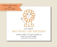 Kids BIRTHDAY PARTY INVITATIONS  orange lion by TutuRevue on Etsy, $21.70