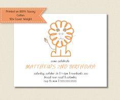 Kids BIRTHDAY PARTY INVITATIONS  orange lion by TutuRevue on Etsy, $21.70