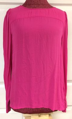 J. Crew 100% Silk Hot Pink Long Sleeve Top Talitha Blouse Size 6 Keyhole Back #JCrew #Blouse