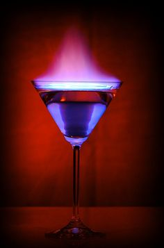 Flaming Martini Glass 15 sec exposure , three test fires on with red gel filter through a homemade snoot. Party Drinks, Cocktail Drinks, Fun Drinks, Yummy Drinks, Alcoholic Drinks, Beverages, Cocktail Recipes, Flaming Cocktails, In Vino Veritas