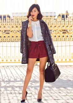 collared-chic-blouse-with-paper-bag-waist-shorts-and-fall-coat
