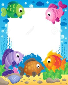 Illustration of Fish theme frame vector art, clipart and stock vectors. Borders For Paper, Borders And Frames, Boarder Designs, Diy And Crafts, Crafts For Kids, Sea Theme, Fish Theme, Class Decoration, Summer Birthday