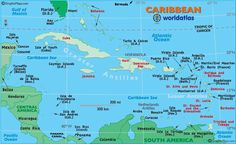 """Caribbean Map, Caribbean Islands, Map of the Caribbean, West Indies Map. Use with """"The Cay"""". (PS: """"Curacao"""" is pronounced """"CURE-a-so"""""""