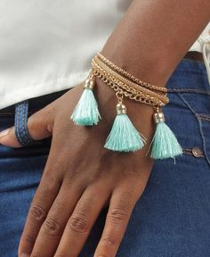 Tassel Bracelet - Blue Tassel Bracelet, Bracelets, Boho Look, Tassels, Feminine, Gold, How To Wear, Blue, Jewelry