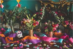 Colourful, Mexican Wedding Inspiration with Day of the Dead Decor…dip-dyed wedding dresses, sugar skulls, tropical blooms and foliage, giant balloons and smoke bombs. Kirsty Mackenzie Photography. Styled by The Wedding Spark.