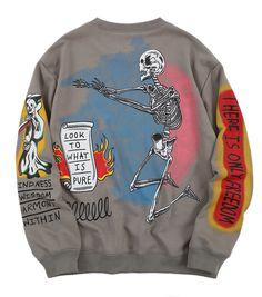 Dark Icon Skeleton Hip Hop Sweatshirt Men Round Neck Pullover Men's Sweatshirts 2019 Autumn Streetwear Sweatshirt for Men-in Hoodies & Sweatshirts from Men's Clothing on AliExpress Custom Clothes, Diy Clothes, Mode Outfits, Fashion Outfits, Mens Sweatshirts, Hoodies, Sweatshirts Vintage, Look Cool, Streetwear Fashion