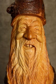 Wood Spirit Carving, Gnome Elf Wizard, Rustic Cabin Decor Birthday Gift for Dad, by Gary Burns the Treewiz, Anniversary Handmade in Oregon via Etsy