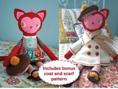 """Katy Kitty Pattern - Finished doll is 21"""" tall.  ($11.95)"""