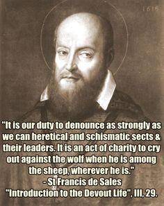 St Francis de Sales on heretics