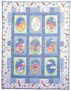 Use soft book panels to create a nursery quilt with a story theme. Mom and Dad can read the panels to the child at bedtime.
