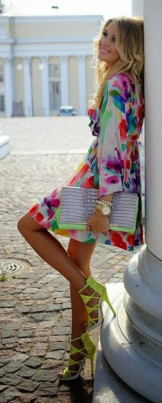 Printed V-Neck Mini Dress with Clutch Purse and Love Neon Heels | Summer Outfits