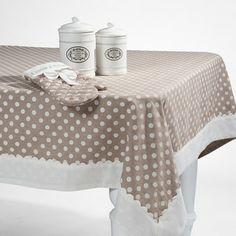Toalha de mesa - Tovaglia a pois bordo avorio