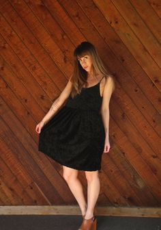 Black Crushed Velvet Mini Babydoll Dress  by VonlenskaVintage