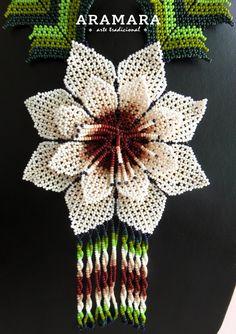 Mexicana Huichol cuentas blanca flor collar CFG-0036 por Aramara