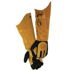 "Black Deerskin Welding Glove with 21"" Padded Cuff - 1878 - Caiman"