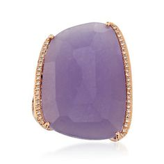 Purple Jade and .22 ct. t.w. Diamond Ring in 18kt Rose Gold