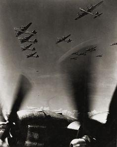 Formation of B-29's bombers heading toward Japan