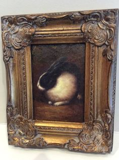 Country French Oil Painting on Board Framed...Rabbits-Pierre Deux