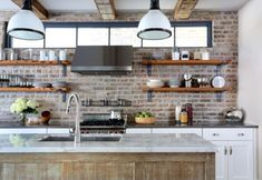 Amazing Kitchen Wall Shelving Ideas Inspirations: Inspiring Wooden Kitchen Wall Shelving With Pendant Lamp Kitchen Island Wash Basin And Exposed Brick Kitchen Wall Ideas ~ systink.com Decoration Inspiration
