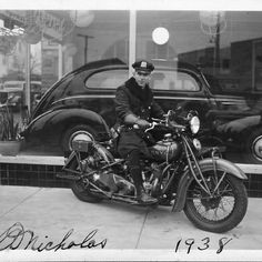 #NYC police motorcycle. c. 1938