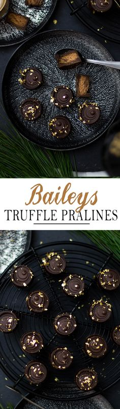 Baileys Truffle Pralines with semi sweet chocolate and gold. Perfect gift for christmas | Baileys Trüffel Pralinen mit Zartbitterschokolade und Blattgold. Perfektes Geschenk aus der Küche zu Weihnachten