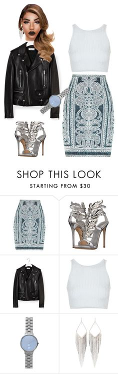 """Untitled #89"" by priscillay5 on Polyvore featuring Hervé Léger, Giuseppe Zanotti, Yves Saint Laurent, Topshop, Skagen and Jules Smith"