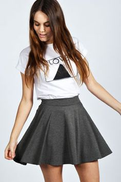 Selena Jersey Viscose Skater Skirt at boohoo.com