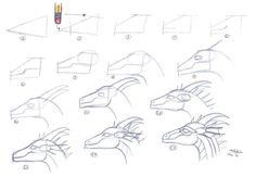 Easy Dragon head tutorial 1 by who-stole-MY-name on DeviantArt Dragon Head Drawing, Easy Dragon Drawings, Easy Cartoon Drawings, Dragon Art, Animal Drawings, Easy Drawings, Dragon Puppet, Motorbike Drawing, Instruções Origami