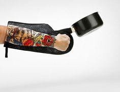 Tattoo Oven Mitt is Perfect for Bikers and Rebellious Teens! -  #bbq #biker #cooking #kitchengadgets #rebel #tattoo