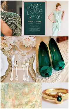 Emerald {Inspiration Board} | allure wedding consulting @Candice pamela  Gotta get me some of these shoes!!! Mollini? Is that the brand?