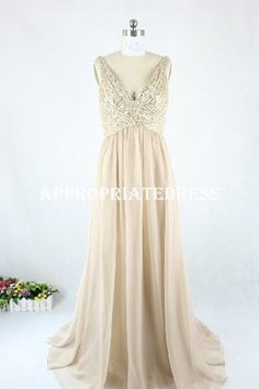 Time-limited discount  Deep V-neck Chiffon Sequin Bodice Real Sample Prom Dress/ Long Evening Dress